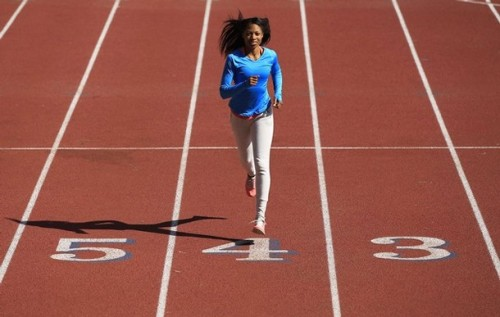 Track and field sprint athlete Allyson Felix of the U.S., who won an Olympic gold medal in Beijing, trains for the London 2012 Olympics in Los Angeles, California, April 10, 2012. Driven for Olympic gold, Felix began to prepare for the 2012 Olympics by adding the 400m to her signature 200m sprint. Last year she became the first woman to win U.S. national titles in the 100m, 200m, and 400m during a career. (via Photo from Reuters Pictures)