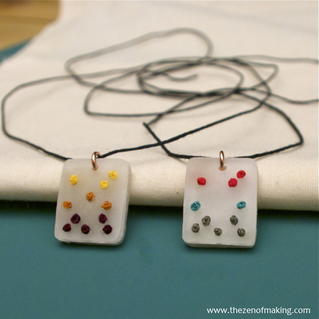 truebluemeandyou:  DIY Embroidered Shrink Plastic Pendant Necklace. This is such a great idea! Have you seen the really expensive wooden discs for jewelry with holes for cross stitch? Well, think shrink plastic with holes. Excellent and detailed tutorial from The Zen of Making here.