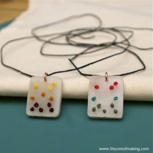 DIY Embroidered Shrink Plastic Pendant Necklace. This is such a great idea! Have you seen the really expensive wooden discs for jewelry with holes for cross stitch? Well, think shrink plastic with holes. Excellent and detailed tutorial from The Zen of Making here.