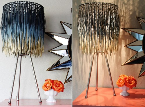 truebluemeandyou:  DIY Zip Tie Lampshade. This looks like it could be for sale in a gallery - go to site for more photos. Buy a cheap shade and then get the other supplies like zip ties  at Home Depot (I bought a huge pack of ties at Costco). Because you are spray painting the ties, the colors and gradients are limitless. Tutorial from A Little Glass Box here.