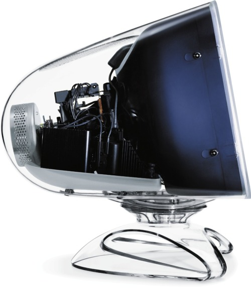 "givedesignachance:  Apple Studio Display 17"" (2000) CRT Apple Studio Displays in 17"" and 21"" sizes were introduced in January 1999 with VGA DE-15 connectors and ""blueberry"" and white exterior styling. In August 1999 the exterior styling was changed to ""graphite"" and white. In July 2000 the 21"" model was dropped and the 17"" changed to a striking ""crystal clear"" enclosure with ADC connector. Apple stopped selling CRT displays in May 2001."