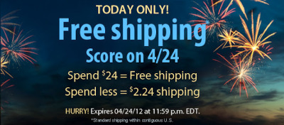 Vitacost has free shipping today(or for anything under $24, $2.24 shipping) + $10 off coupons.  and then you can use the $10 to effectively get something for free! There is tons of organic beauty products(lots of Burts Bees) and food to choose from. There is no minium amount needed for a purchase. This is what I'm getting:  what about you?