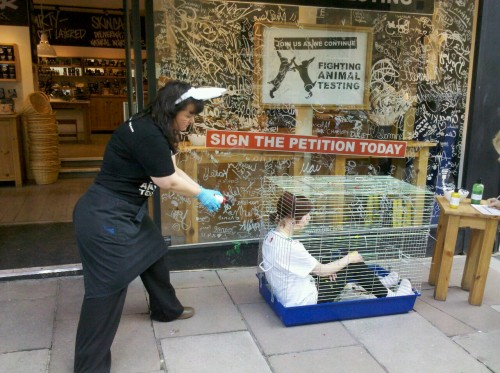 Me in a cage being 'tested on' to raise awareness for World Animals in Laboratories Day. Lots of people signing the Fighting Animal Testing petition :)