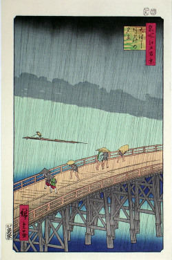 chrishayesart:  ''Sudden shower over shin-ohashi bridge'' by Hiroshige. Japanese print i was looking at for my essay.