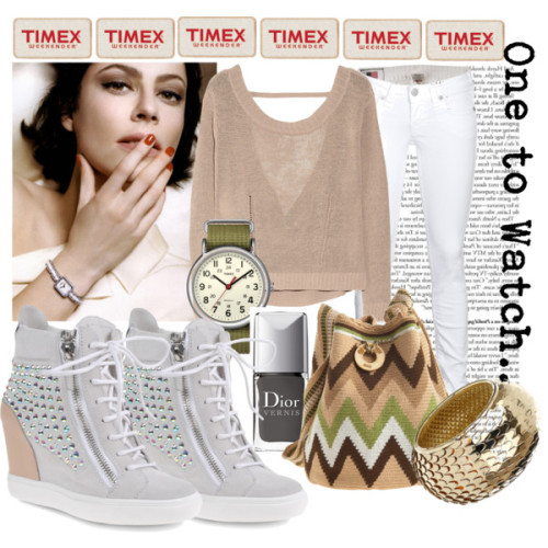 TImex Contest Entry #1 by truequeen featuring sparkly nailsINHABIT cut out top, $345True Religion straight leg jeans, €389Giuseppe Zanotti hi top shoes, $995Wayuu Taya crossbody handbag, $185Timex military fashion, $45Miss Selfridge gold jewelry, $25Christian Dior sparkly nail, $23