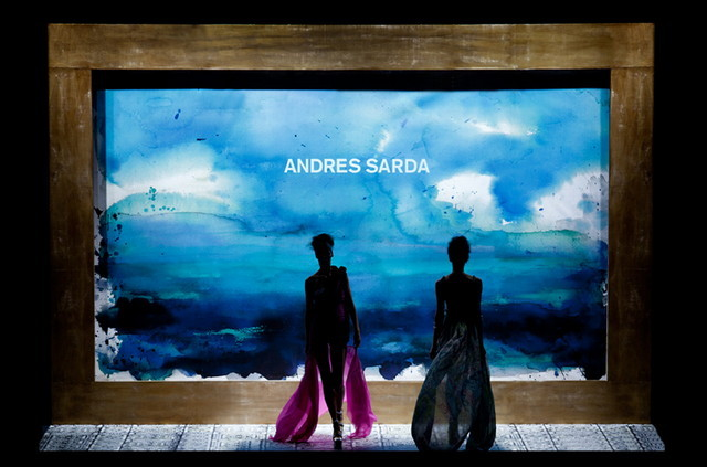 Andres Sarda Mare Nostrum Runway, Swimwear, Summer 2012. Painting by Marcela Gutierrez