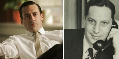 flavorpill:   Don Draper from Mad Men, based on Draper Daniels More than just Don's namesake, Draper Daniels was a legend in the world of advertising during the '60s, though he was based in Chicago with the firm Leo Burnett and not in New York with the rest of the Madison Avenue elite. Apparently he was much more devoted to his wife, Myrna, than Don is, too — he never cheated and even quit drinking when she asked (although the story of their marriage is more than a little disturbing in other ways)  Fictional characters you didn't know were based on real people
