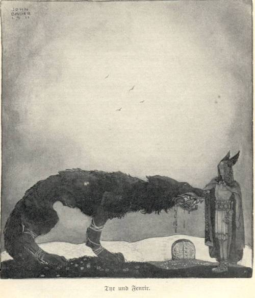 Tyr and Fenrir by John Bauer.