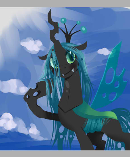 I started work on a digital pic of Chrysalis. Her cutie mark IS a bandwagon of dicks, isn't it?