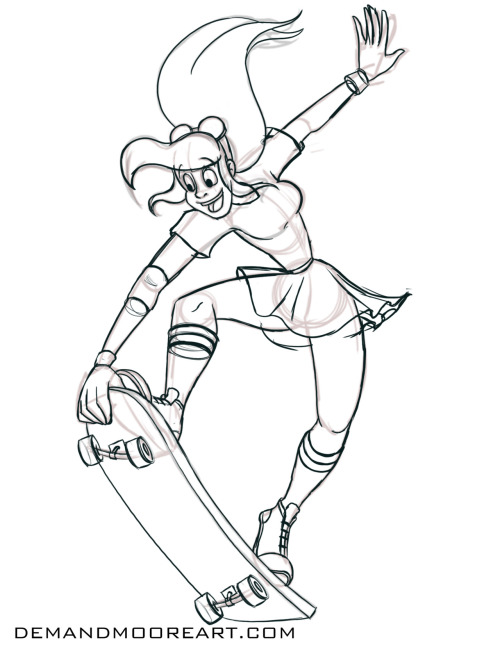 Skater Girl, redone. I moved her body around so it made sense.