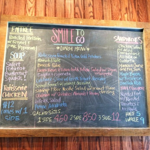 Today's Menu at Smile To Go