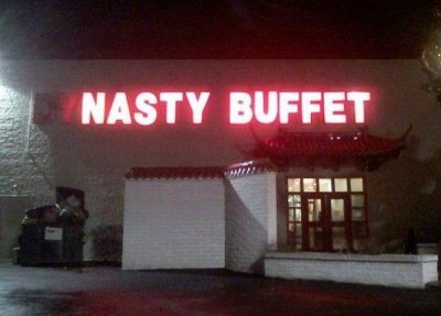 Can't you pretty much say this about ALL buffets? via Funny Signs