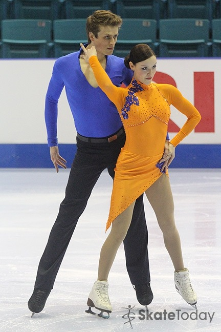 Mariève Cyr and Benjamin Brisebois Gaudreau performing their short dance at the 2012 Junior Canadian Nationals.Photo by Brett Barden.