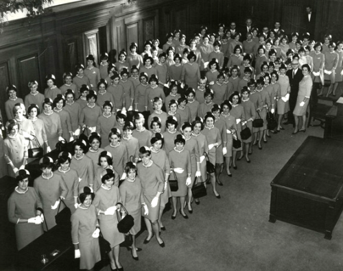 General Expo 67 hostesses at Montreal City Hall, with Mayor Jean Drapeau.