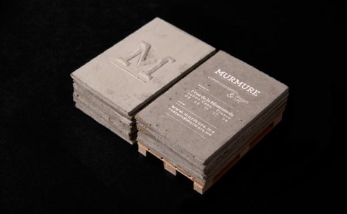 weandthecolor:  Concrete Business Cards. Super creative business cards, designed by Murmure, an agency from Caen, France. via: WE AND THE COLORFacebook // Twitter // Google+ // Pinterest  Wow! Where would you really place these at? On your nearest sidewalk? Very unique! Like they always say: think outside the box. :)