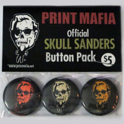 Skull Sanders Button Pack Fried chicken? That stuff will kill you! Fight the fight against processed fast food with this creepy Skull Sanders button three-pack from Print Mafia.