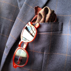 Red sunnies on a plaid jacket. Slick. brokeandbespoke:  WIWT Preview.