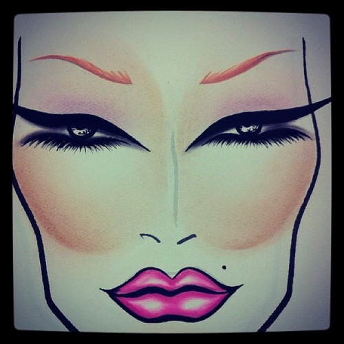 Another #natural #facechart #mac #makeup #nicki #liner #pink  (Taken with instagram)