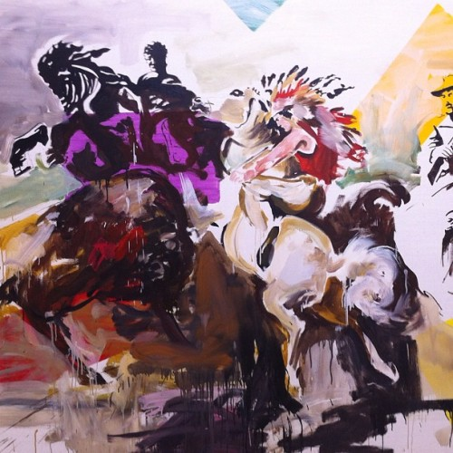 "Detail of Arman Grigorian's ""Sasuntsi Davit, Sitting Bull and Buffalo Bill"" (1999) (Taken with Instagram at Gallery Bergen)"