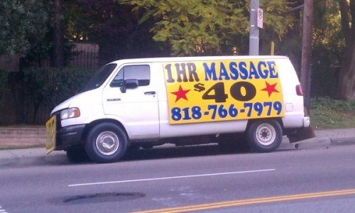 collegehumor:   Creepy Van Offers Massages   Seems legit.