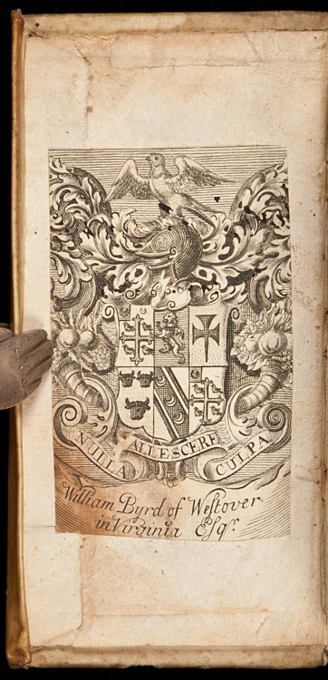 "Metaphysica  With the bookplate and signature of William Byrd of Westover, VA Maccovius, Johannes.  Amsterdam, Joannem Janssonium, 1651.  Bound With: Senguerdius, Arnoldus. Idea Metaphysicae Generalis. Utrecht: Joannem a Waesberge, 1647. [vi], 206, [3] pp. 12.2x6.5 cm. (4¾x2½""), period full vellum, leather spine label. With the (trimmed) bookplate of William Byrd, of Westover, Virginia. A handsome, elaborate armorial bookplate engraved circa 1725, but probably not in America."