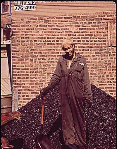 Delivering coal, 1973, Chicago. John H. White. (National Archives) Of course, coal was once the primary fuel source for businesses and homes in Chicago. Today, there are only a handful of places that use coal in the city, one of which is a restaurant. Can anyone name it? It's one of the best, if you ask me…