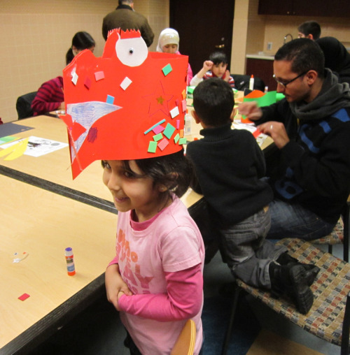 Dragon Hats at the Arab American National Museum. Made during our Free Craft Sundays event on January 22, 2012.