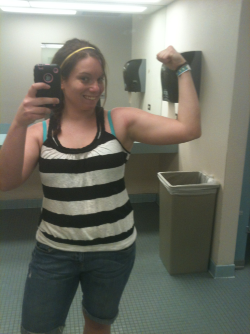 Crazy awesome workout today. I'm also declaring it gun show Tuesday because my workout today was intense! I felt like I'd never worked out before. Set 1: These were mostly supersetted in each set.  Assisted Pullups: 3x15 @ 8-9-9 assistance Bent over barbell rows: 3x15 @ (How much do EZ bars weigh? I have no idea) EZ bar+10 lbs Cable Straight Arm Pulldowns: 3x15 @ 50-50-55 lbs Set 2: Reverse Close Grip Pulldowns: 3x15 @ 40 lbs One Arm DB Rows: 3x15 @ 12.5-10-12.5 lbs Seated Cable Row: 3x15 @ 40 lbs Set 3:  DB Shoulder Press: 3x15 @ 15-10-10 lbs DB Upright Row: 3x15 @ 8-10-10 lbs DB Lateral Raise: 3x15 @ 8-10-8 lbs DB Rear Delt Raise: 3x15 @ 10 lbs Set 4:  Seated Tricep Press: 3x15 @ 55 lbs DB Bicep Curl: 3x15 @ 10 lbs   Also, I can't walk today thanks to yesterday's workout that I forgot to post… Set 1:  BW Squats: 3x8 Plie Squats: 3x8 @ 25-30-30 lbs Set 2:  Jump Squats: 3x15 Stiff Legged Deadlift: 3x8 @ 65 lbs Set 3: Step Ups: 3x15 @ 17.5-12.5-12.5 lbs Walking Barbell Lunges: 30 steps x3 @ 45 lbs Set 4:  Stationary Lunge: 3x12 @ BW Leg Extensions: 3x10 @ 65 lbs Set 5:  Seated Leg Curls: 3x20 @ 50-40-40 lbs Set 6:  DB Squats: 100 reps (split into 15-15-20-20-20-10) @ 10 lbs