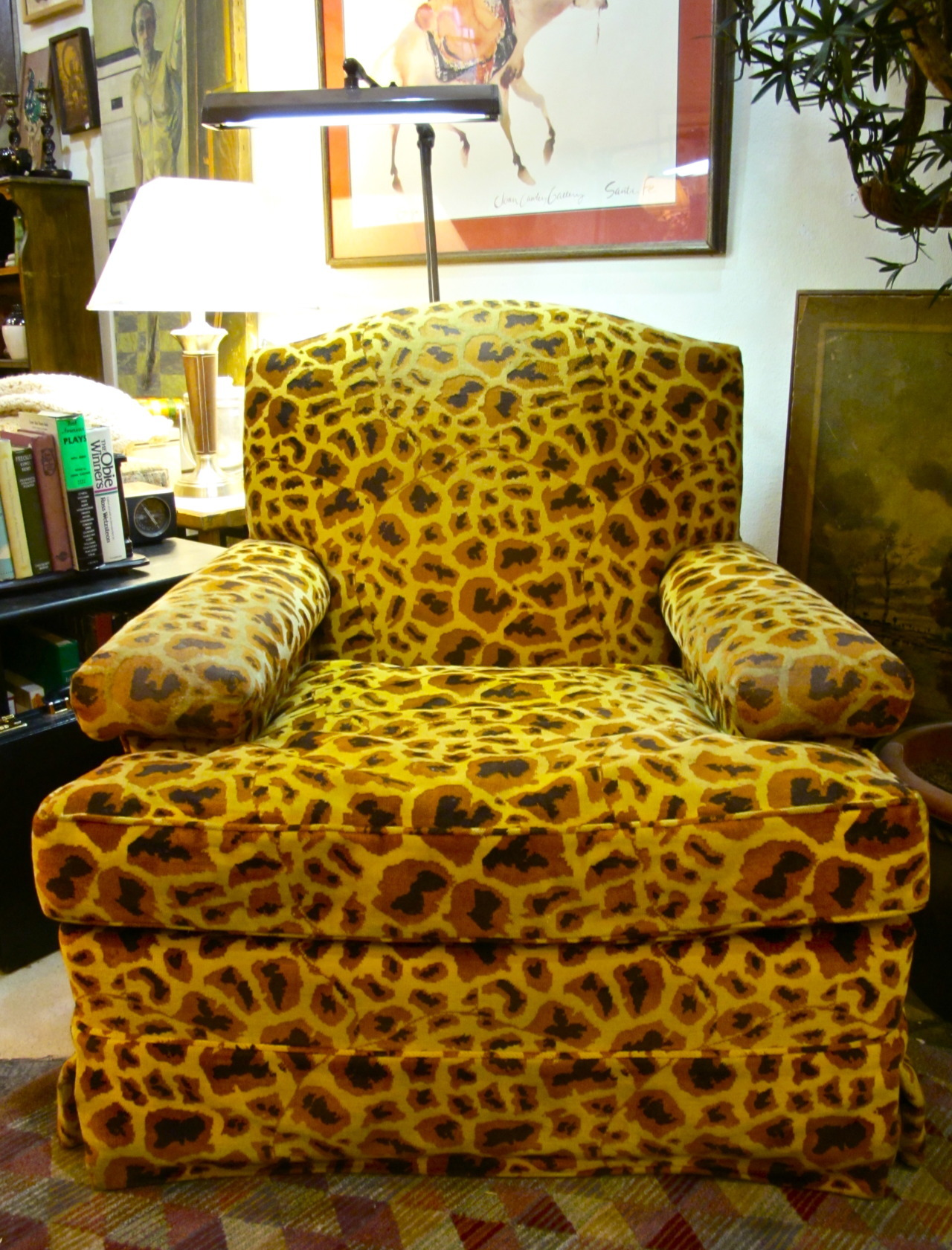 curethriftshop:  CURE CLOSEUP: REVEALED crazy-cool leopard print arm chair Stop by if you're on the hunt for a WILD addition to your home!