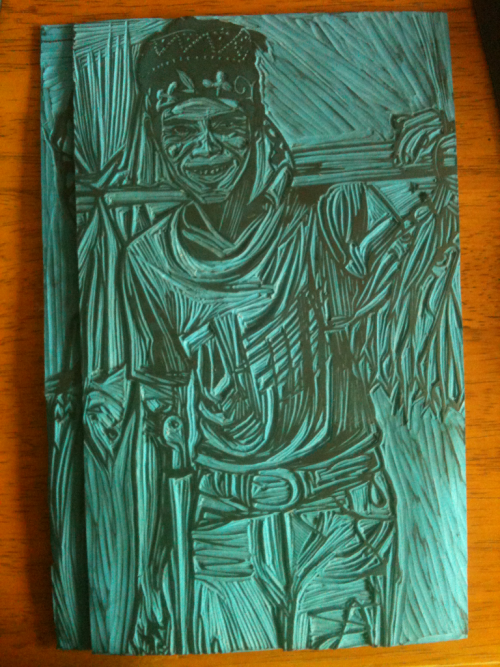 Filipino Fisherman - lino cut out