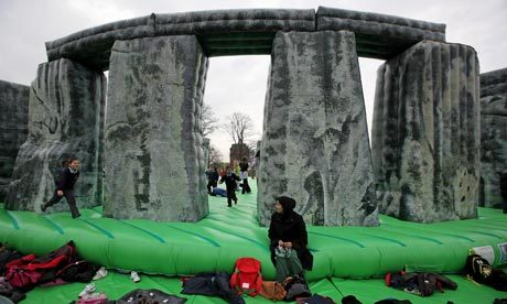 archaeology:  Jeremy Deller's inflatable Stonehenge gives Glasgow a bounce in its step The Turner prize winner's bouncy new interactive artwork, Sacrilege, kicks off the Glasgow international festival of visual art. More here.