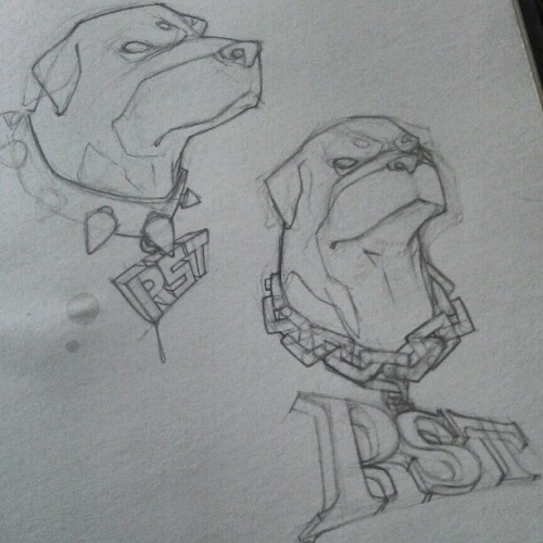 Rough drafts that never went further. Damn shame too. #sketch #logo #Rottweiler #dope (Taken with instagram)