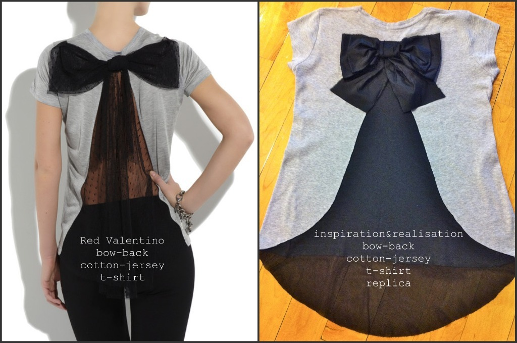 truebluemeandyou:  DIY Red Valentino Bow Back Cotton Jersey T-Shirt. I'm posting this in honor of its being inspiration & realisation's most viewed post ever on her wonderful site (over 62,000 views and counting for this Valentino knockoff). Congrats Donatella! Tutorial for this easy to make shirt by inspiration & realisation here.