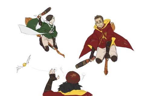 QUIDDITCH IS A DANGEROUS GAME…… starting from top left me, bottom middle (head + arms) cae as gryff's seeker, and puccibby! will try something more complete next time-