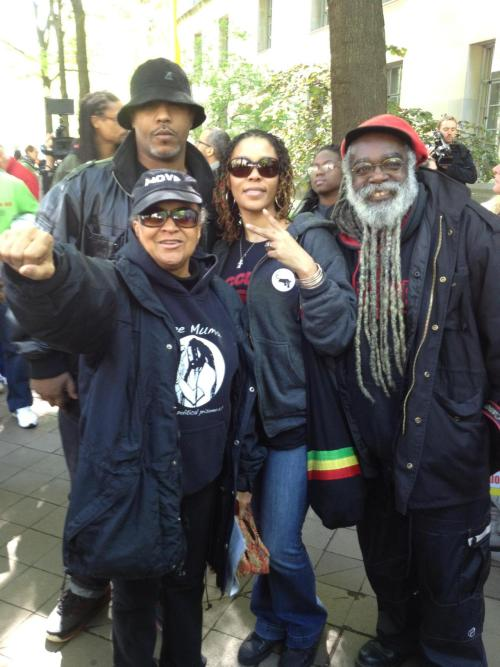 Washington, DC: Pam Africa and friends at Occupy the DOJ action for Mumia Abu-Jamal, April 24, 2012. Photo by Ife Johari
