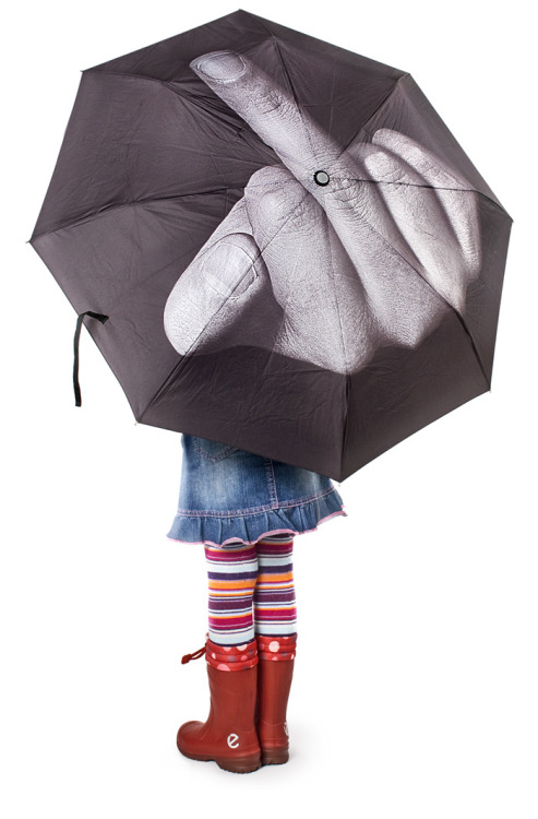 "The ""Fuck the Rain [click here to buy]"" umbrella by  Artemy Lebedev for those days when you WANT to be struck by lightning. Side Note: I'd love to gift that umbrella to a ugly stripper and yell ""NO MONEY FO YOU"""