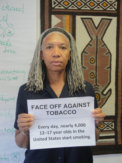 FACE OFF AGAINST TOBACCO on Flickr.Here at BPHC we focus on eliminating health inequities. Smoking is directly connected to Asthma, which disproportionately affects people of color. I support this campaign because it seeks to change a public health policy that will result in decreasing a prevalent health inequity. Pam Jones, Director of Policy and Planning, Boston Public Health Commission