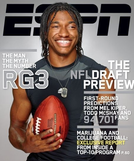 "The current issue of ESPN The Magazine is the ""NFL Draft Preview"" issue. It's loaded with amazing stories, including a great piece on Robert Griffin III and a great read on the Oregon Ducks and marijuana.  In the issue, The Mag re-launched the FOB (magazine lingo for front of the book-literally meaning the first portion of the mag). Our new section is called Playbook. For all of you long time ESPN Mag readers, there's been The Jump, Go, Play and a slew of other names attached to this section of the Mag. But now Playbook will marry print and digital thanks to the launch of Playbook online. I'm a part in all this launching, and I'm proud of the work and I think it's great.  So if you like sports and new things-give it a read."