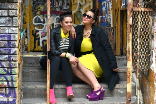 modcloth:  Bold hues stand out against onyx accents in these outfits worn by Gabi of GabiFresh and Christina of Profresh Style.