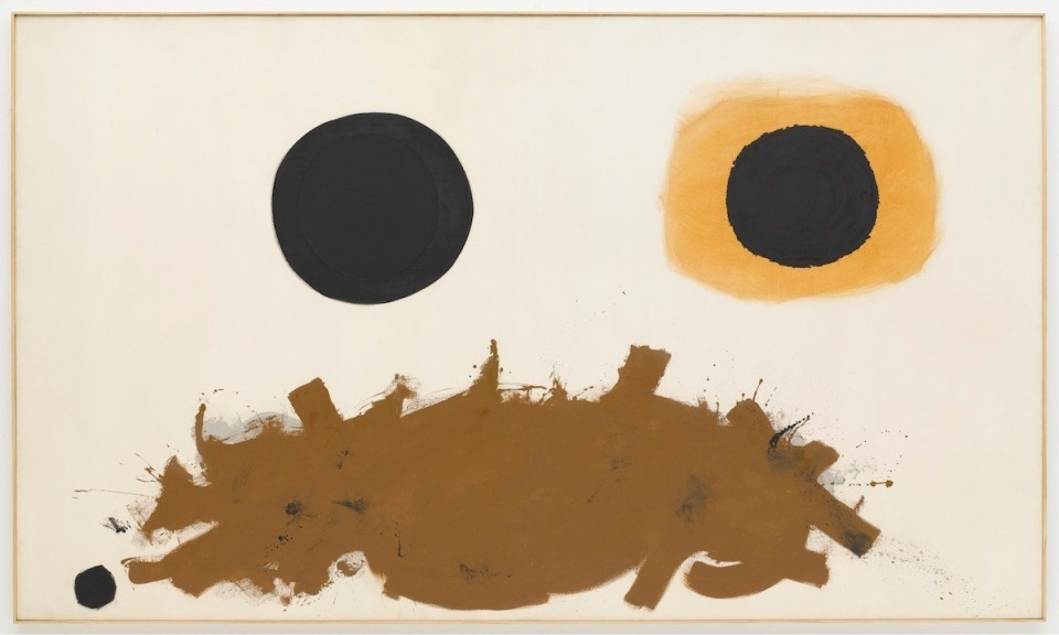 "thepacegallery:  Adolph Gottlieb, ""Ochre and Black"", 1962, oil on canvas, 6' 6"" x 11'© Adolph and Esther Gottlieb Foundation/Licensed by VAGA, New York, courtesy The Pace Gallery The Daily Pic from The Daily Beast is Adolph Gottlieb's current exhibit at Pace!  We hope you can see this show before it closes Saturday, April 28th!"