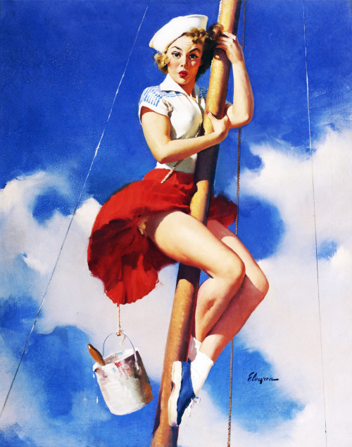 """Sitting Pretty"" by Gil Elvgren 1953"
