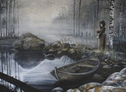 "elkofhiisi:   ""Journey to Tuonela III"" Tuonela was the Finnish underworld, a magic haunted island ruled over by the dark god Tuoni.  Getting there was no easy task and returning was much harder.The swan was a transcendent being which swam around the island of the dead singing. In the case of Lemminkäinen, The swan began to sing a haunting song of divine beauty. The golden notes described life's splendor and its heartache—the wordless music summarizing everything that people long for and care about in their journey from the cradle to the grave. The impossible sadness and magnificence of the song moved Lemminkäinen's heart and he realized he could not kill the great bird. As Lemminkäinen faltered, he was spotted by the gods of the underworld.  Infuriated that anyone should threaten the great swan, Tuoni's blind son sent a poisonous watersnake to bite the suitor.  Lemminkäinen tried to sing away the venom with a shaman spell but he knew no words of magic against watersnakes.  The whirlpool of the river of death caught him and his body was ripped into pieces which sank among the underwater boulders."