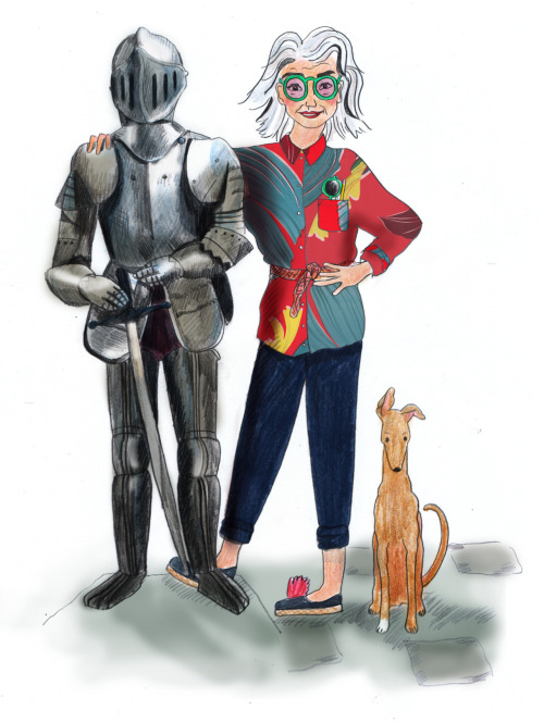 Aunt Castafiore with Robert, the house guard, an original suit of armour - one of many which was sent to assist the Scots by the French in the 1300's. She stands alongside her Italian Greyhound Bo Bo.