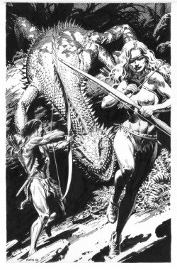 dinosaurs-and-boobs:  Thomas Yeates, Tarzan and Jane in Pellucidar.