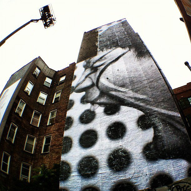 JR's new mural in New York City, almost finished… Corner of Prince and Mulberry!