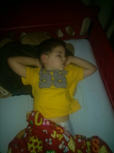 I love the way my 3 year old sleeps!