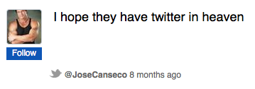 Jose Canseco's twitter account vanished weirdly today, sort of just like Jose Canseco's Twitter account appeared. UPDATE: