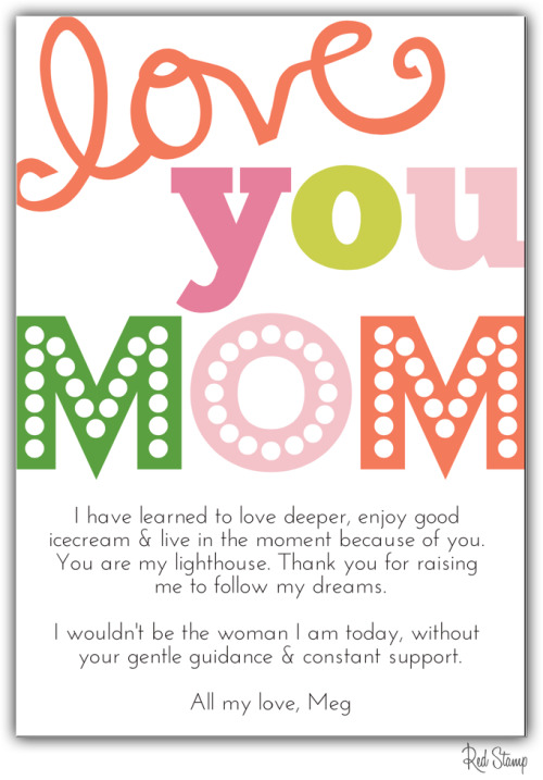 Mixed typography! Send a free digital Mother's Day card or surprise her with a printed paper postcard! All designs found in Red Stamp's free app.