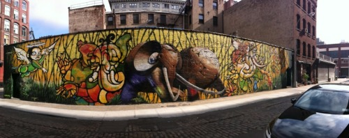 Dumbo, Brooklyn Panoramic Grafitti Photo Taken while waiting on line for Record Store Day at Halcyon