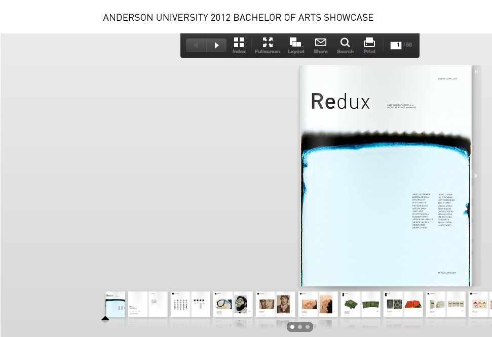 Check out AU's first Senior Showcase of Visual Art, Redux! A small team of our designers took on the challenge of creating this publication from scratch at the beginning of the semester and created something truly beautiful to show off our talented graduating artists and designers. The site is officially live, take a look!